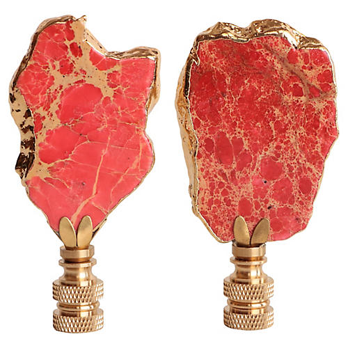 Freeform Coral Jasper Lamp Finials, Pair