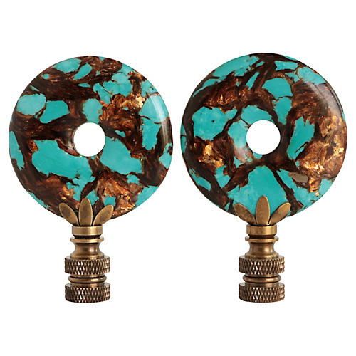 Turquoise and Copper Ribbon Lamp Finials