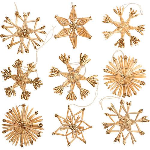 Scandinavian Snowflake Ornaments, S/9