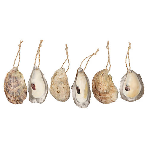 Silver Edged Oyster Shell Ornaments, S/6