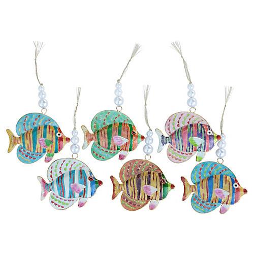 Cloisonné Reef Fish Ornaments, Set of 6