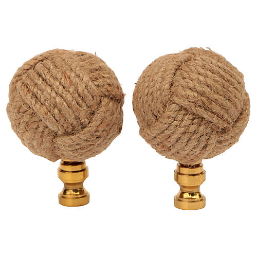 Jute Knot Lamp Finials, Pair
