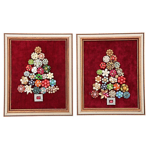 Framed Jewelry Christmas Trees, A Pair