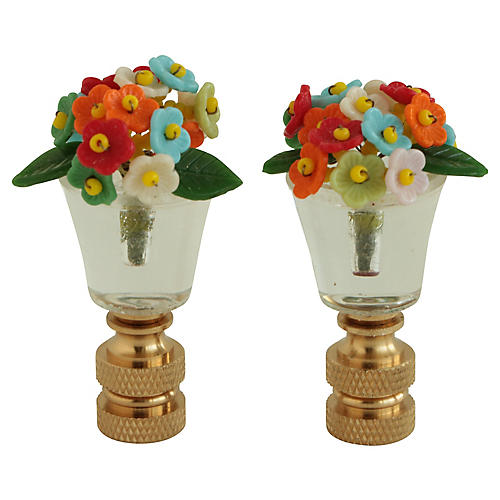 Bohemian Glass Flower Lamp Finials, Pair