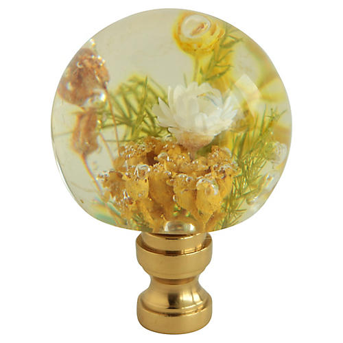 Floral Lucite Lamp Finial