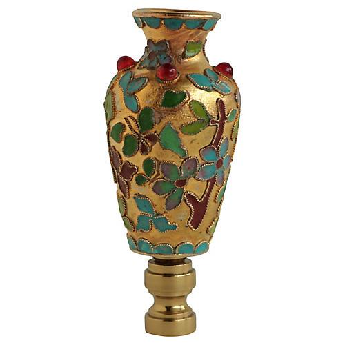 Gemmed Cloisonné Vase Lamp Finial