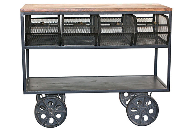 Iron & Teak Rolling Cart w/ Bins