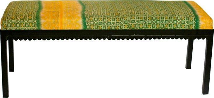 Kantha-Upholstered Bench