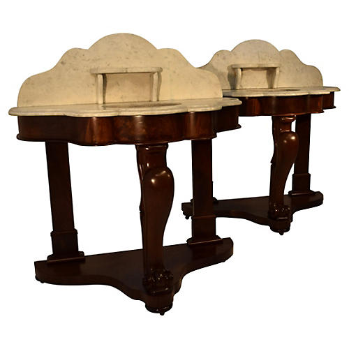 Mid-19th-C. English Washstands, Pair