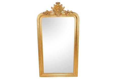Louis Philippe Gold Leaf Mirror w/ Crest