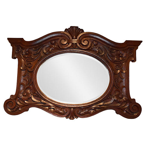 Heavily Carved French Oak Beveled Mirror