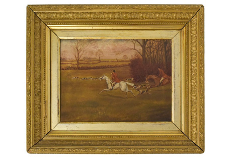 Oil on Canvas of a Fox Hunt