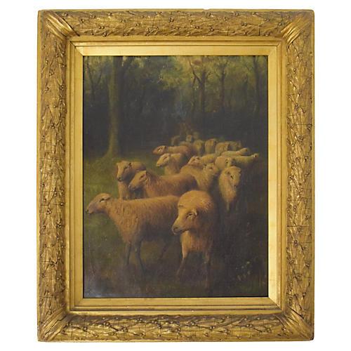 Antique Herd of Sheep by H. C. Wallis
