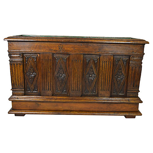 19th-C. French Oak Planter w/ Liner