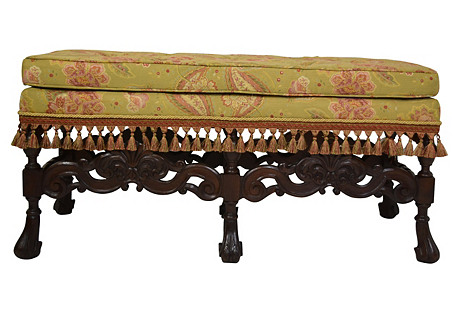 19th-C. Carved & Upholstered Bench