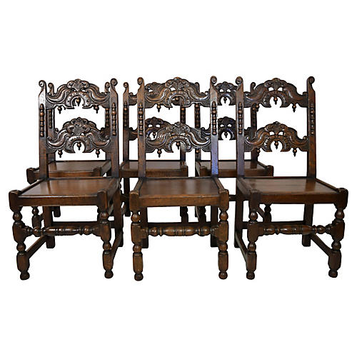 19th-C. English Oak Chairs, S/6