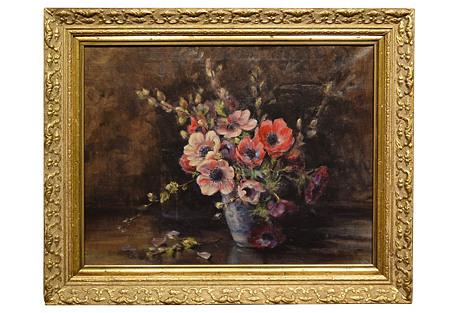 19th-C. Still Life of Flowers