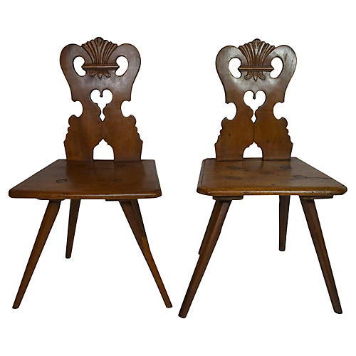19th-C. French Country Chairs, Pair