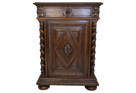 19th-C. Carved Oak French Cabinet