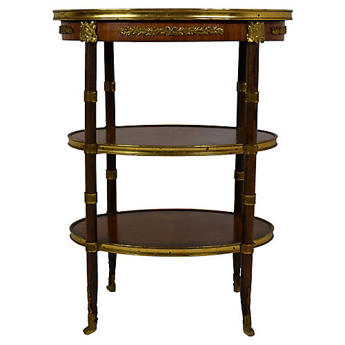 19th-C French Oval Table w/ Brass Mounts