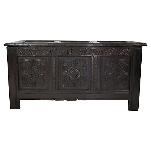 18th-C. English Paneled Blanket Chest