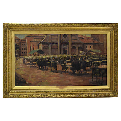 Early-20th-C. Outdoor Cafe Scene