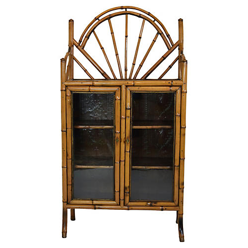 19th-C. Natural Bamboo Bookcase