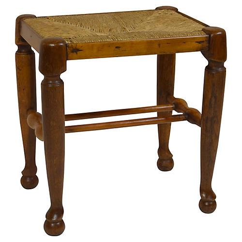 19th-C. French Stool w/ Rush Seat