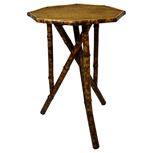 19th-C. Octagonal Bamboo Tripod Table
