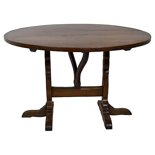 19th-C. French Oak Wine Tasting Table
