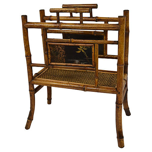 19th-C. Bamboo Magazine Rack