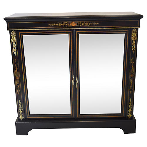 19th-C. English Ebonized Pier Cabinet