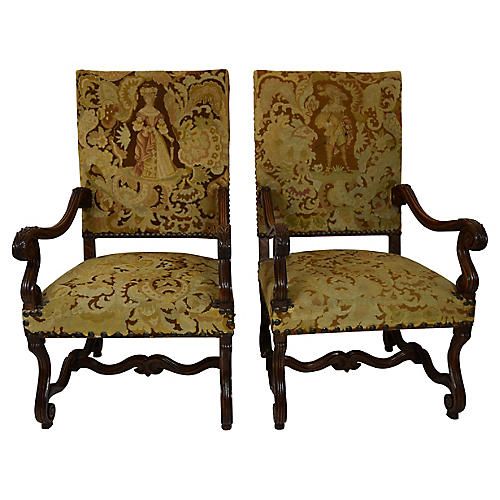 19th C. French Carved Fauteuils, Pair