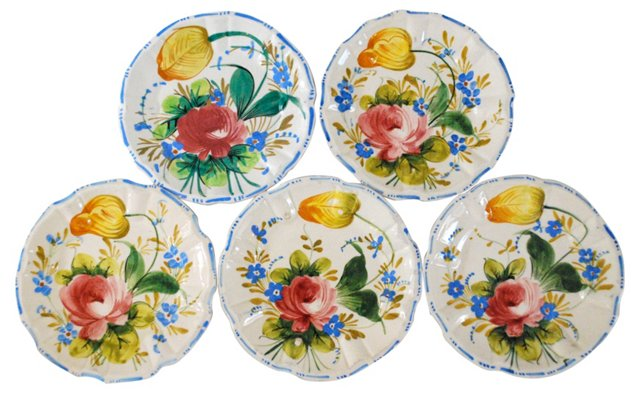 Hand-Crafted Italian Plates, S/5