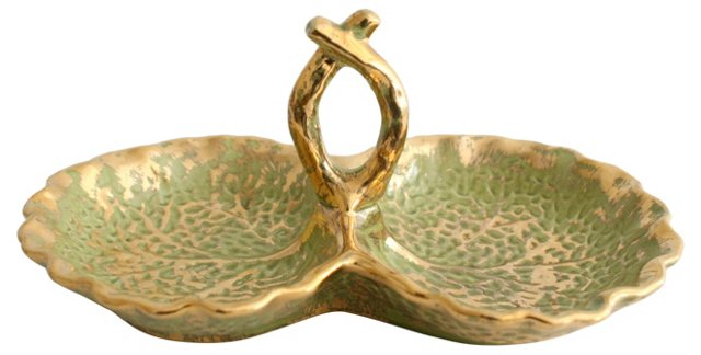 Green & Gold Stangl Dish