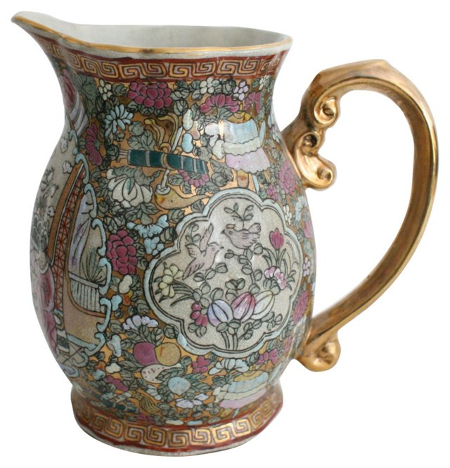 Hand-Painted Chinoiserie Pitcher