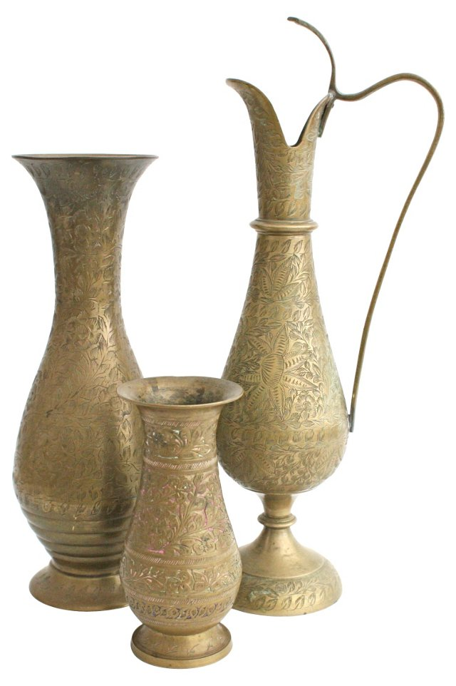 Engraved  Brass  Vessels, Set of 3