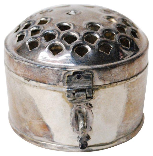 Round Silver Cricket Box