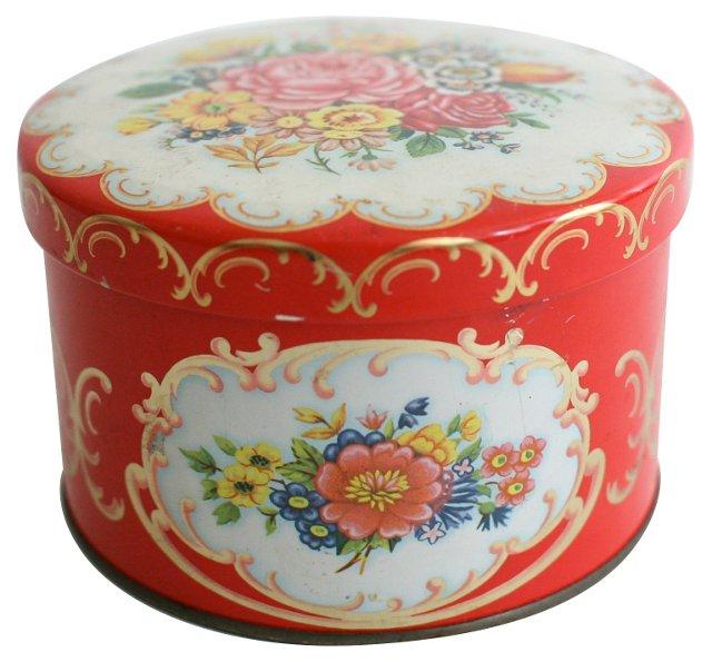 Round Floral Tin Box