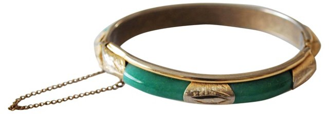 Jade & Goldtone Hinged Bangle