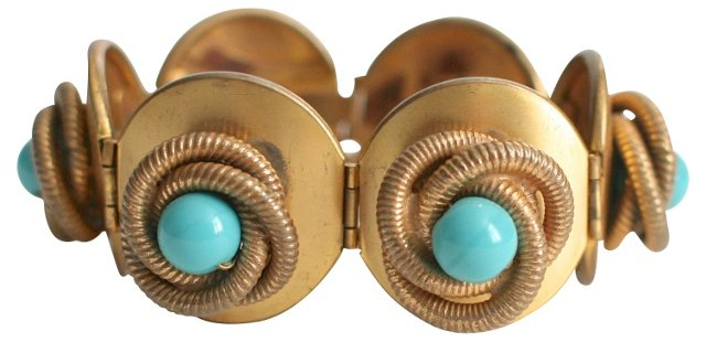 Aqua & Brass Midcentury Bracelet