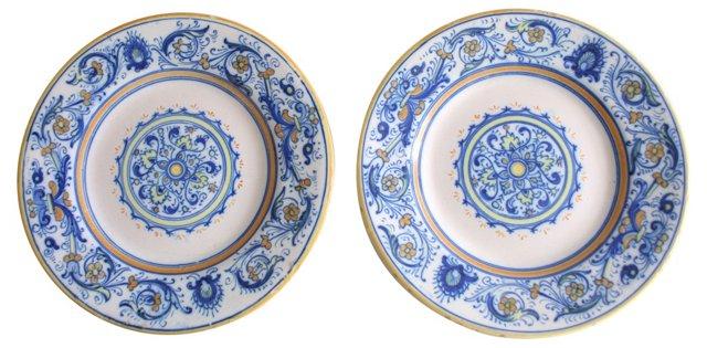 Handmade Italian Plates, Pair