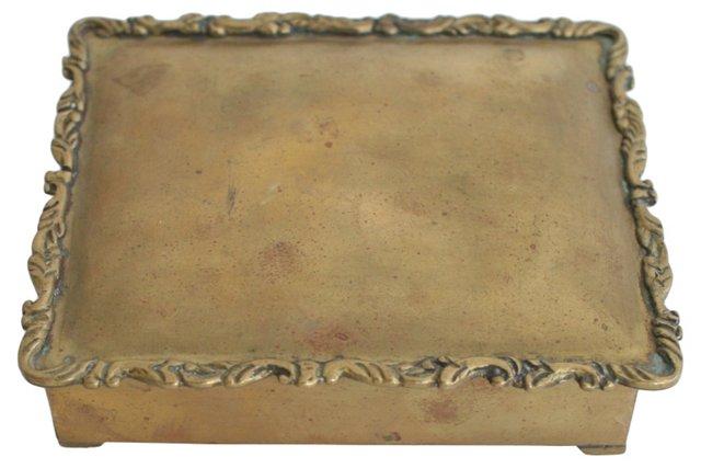 Ornate Wood-Lined Brass Box