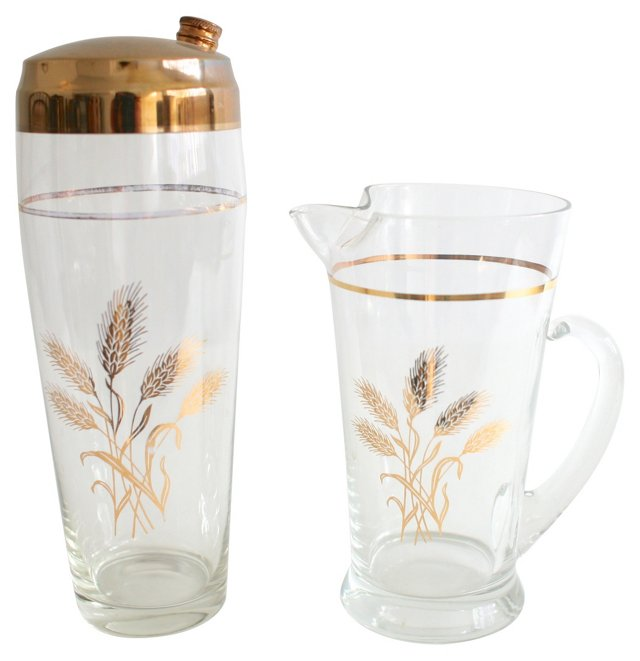 Gold Wheat Pitcher & Shaker