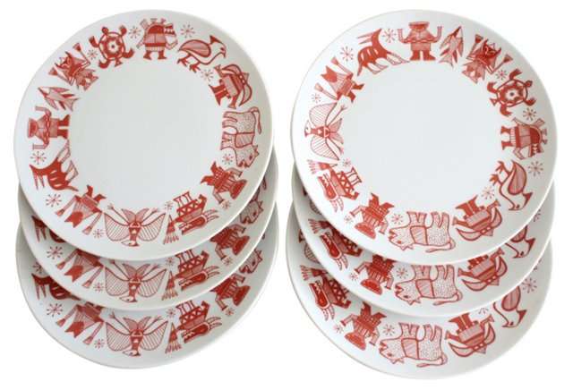 Midcentury Aztec Motif Plates, S/6