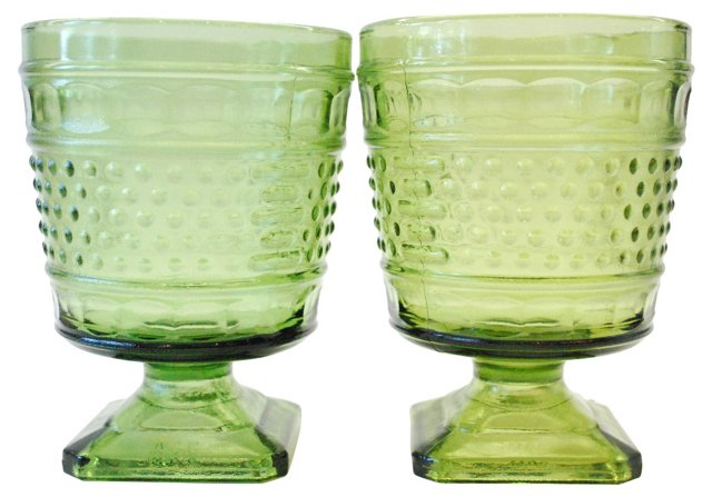 Green Glass Vases, Pair