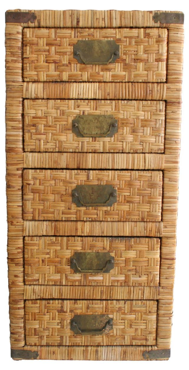 Rattan Campaign-Style Chest