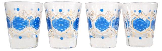 Blue Diamond Shot Glasses, S/4