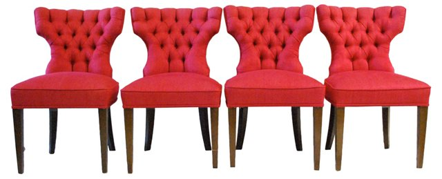 1960s Klismos-Style Dining Chairs, S/4