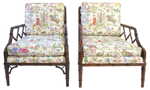 Chippendale Style Armchairs, Pair